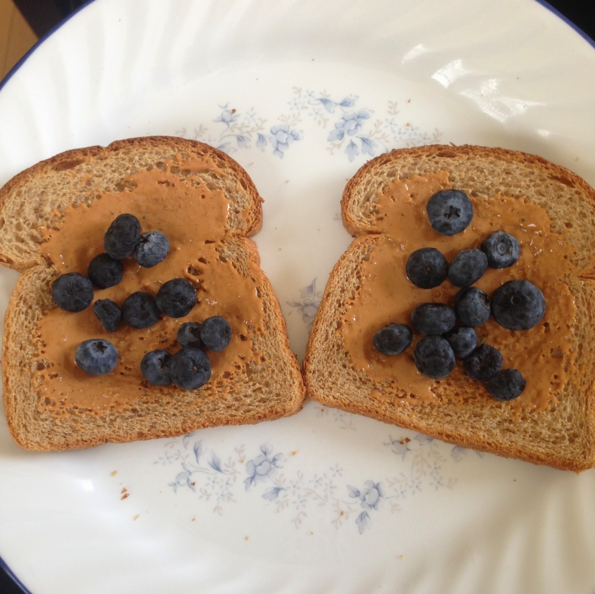 Snack: 2 Slices whole wheat toast with 1/2 tbsp better'n peanut butter on each and blueberries