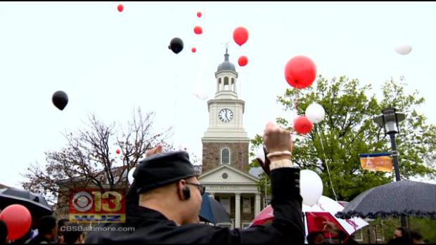 Balloons released at a rally at Morgan State University - CBS