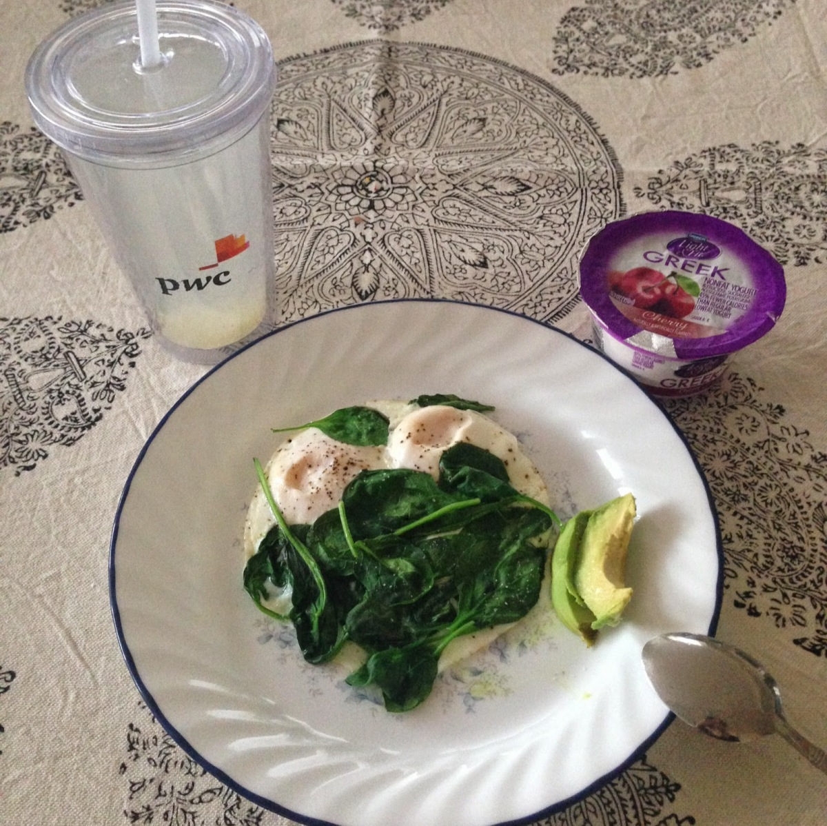 Breakfast: Two whole eggs with spinach, 1/4 avocado and yogurt