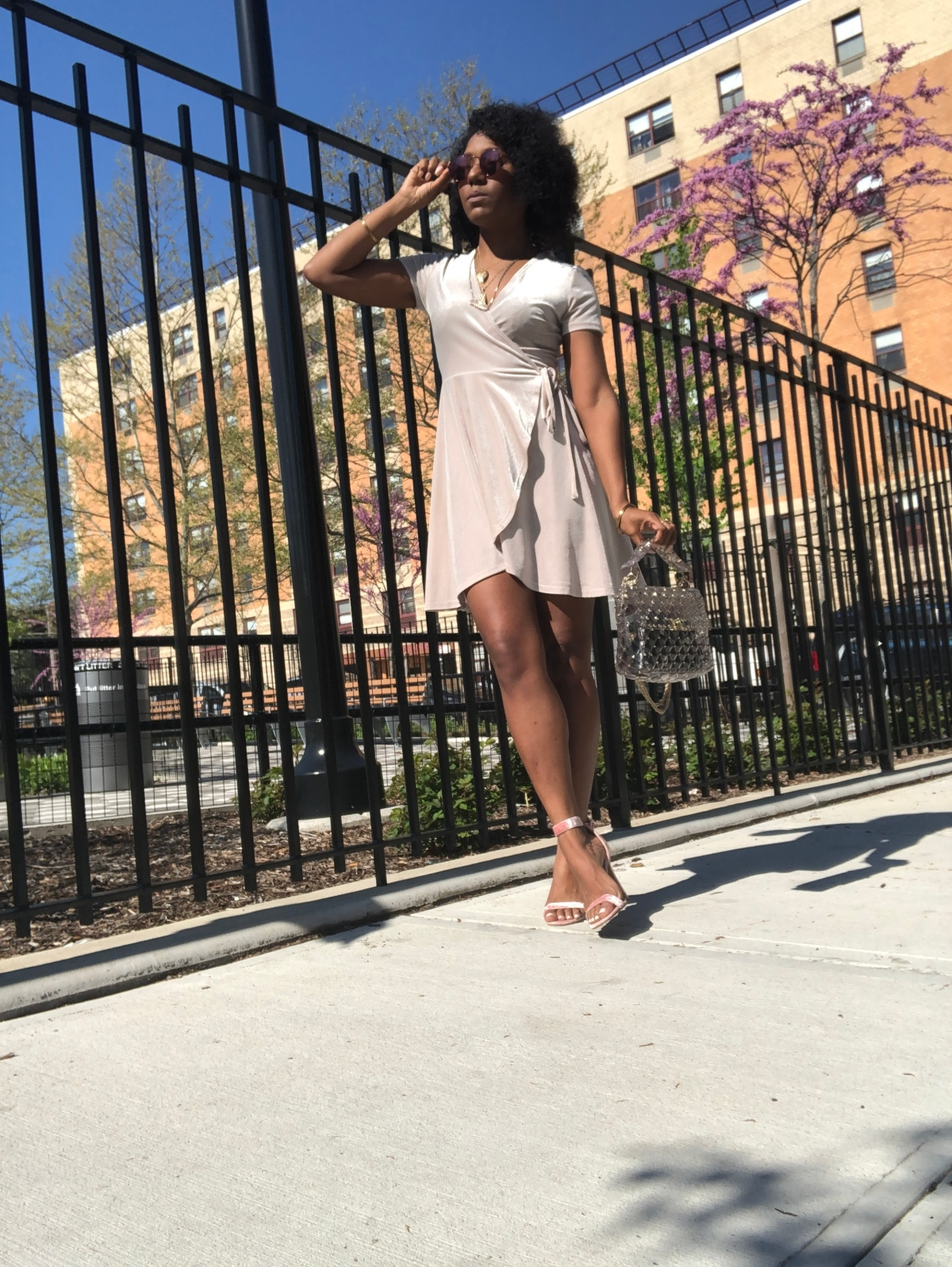 Wrap Dress - American Apparel   Heels - Forever 21   Top Handle Bag - Valentino   Mirrored Sunglasses - H&M