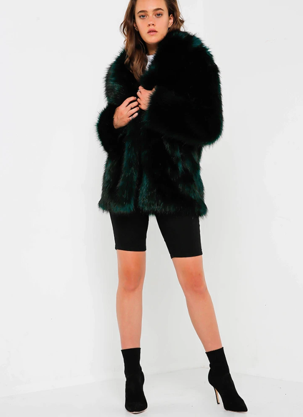 Premium Rose Jacket in Deep Teal by Unreal Fur. Retail $399