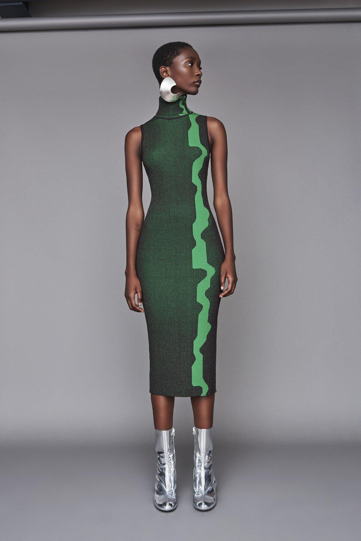 Lowri Dress Aubergine/Green by Solace London. Retail $630